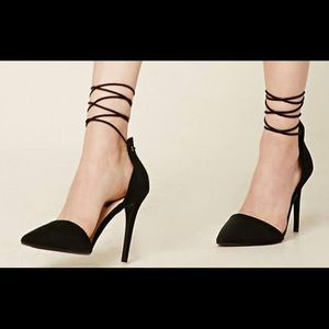 New ankle wrap heels faux suede size 37